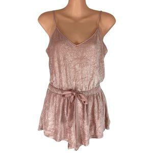 Victoria's Secret Light Pink Velour Satin Tie Waist Romper Size S